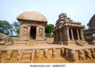 Five Rathas Monolithic Hindu Temple in Mahabalipuram. Great South Indian architecture, UNESCO World Heritage Site. South India, Tamil Nadu, Mahabalipuram