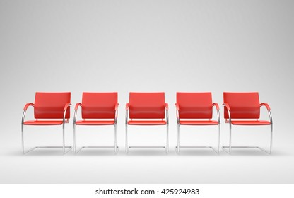 Five red chairs in empty space 3D render