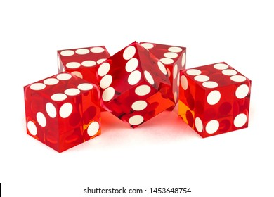 Five red dice with sharp edges, isolated on white background. Four by six and one uncertainty, all with a light shadow.
