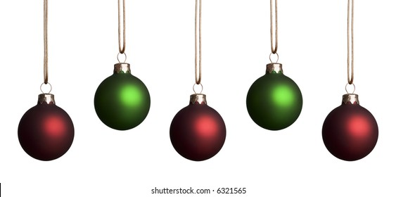 five red and green christmas ornaments hanging isolated on a white background - Red White Green Christmas Decor