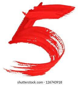 Five - Red handwritten numerals over white background