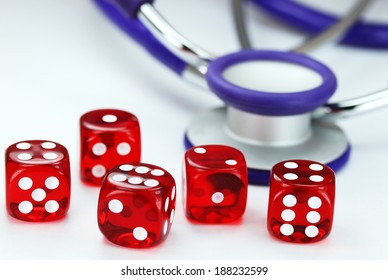 Five red translucent dice with white numbers in front of a purple stethoscope, asking the question do you gamble with your health?