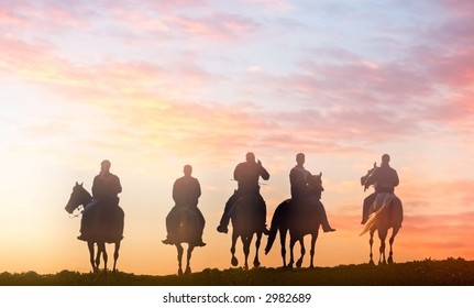five riders - vector version available