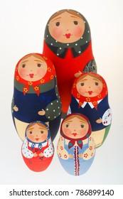 Five Russian dolls babushka matryoshka isolated on white