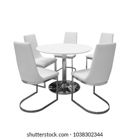 Five soft white chairs around circular white table with nobody, Isolated on white background