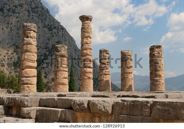 Five standing columns of Temple of Apollo in Delphi, Greece.