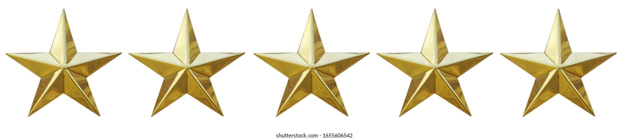Five stars golden score ranking review  sing and symbol photo isolated on white background. This has clipping path.