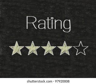 Five stars ratings web yellow written on blackboard background