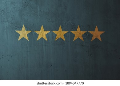 Five start icon on blue concrete wall background, testimonial banner background.