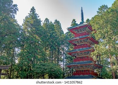 Five storey Pagoda of the Nikko Toshogu Shrine in Nikko city, Japan - Shutterstock ID 1411057862
