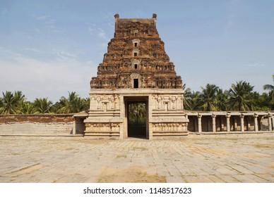 Five storeyed East Gopura, Pattabhirama Temple, Hampi, Karnataka. View from west.