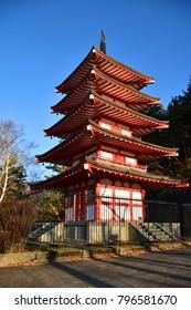 The five storied pagoda, known as Chureito Pagoda in Autumn, Kawaguchiko, Japan
