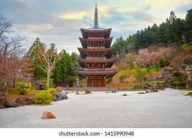 Five storied pagoda at Seiryu-ji Buddhist temple in Aomori, Japan