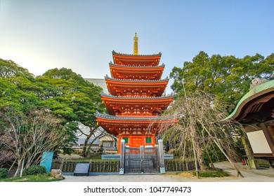 Five Storied Pagoda in Tochoji Temple in Hakata, Fukuoka, Japan.