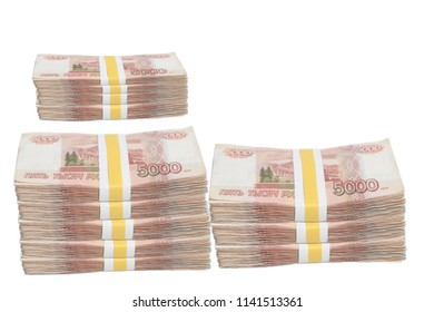 Five thousands rubles stacks with Tape