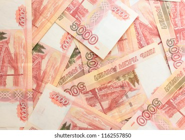 Five thousandth banknotes. Russian rubles
