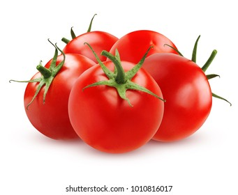 Five tomato whole, isolated on a white background with shadows.