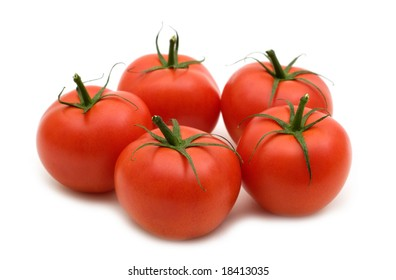 five tomatoes on white background