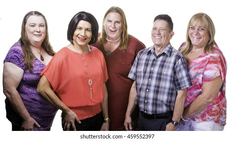 Five Transgender People Isolated on White Background