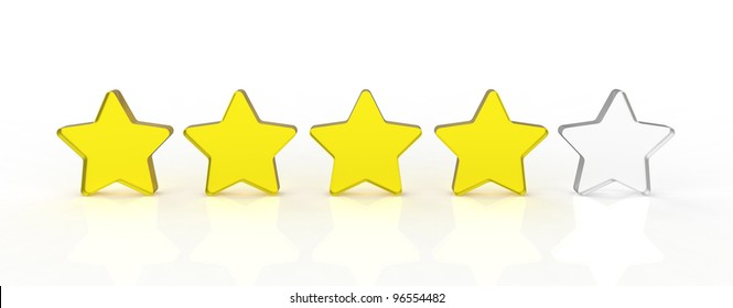 Five transparent and shiny glass stars showing the rating four out of five. Four yellow and one white.