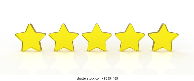 Five transparent and shiny glass stars showing the rating five out of five. Five yellow.