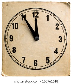 Five to twelve, time on vintage clock. Isolated from background