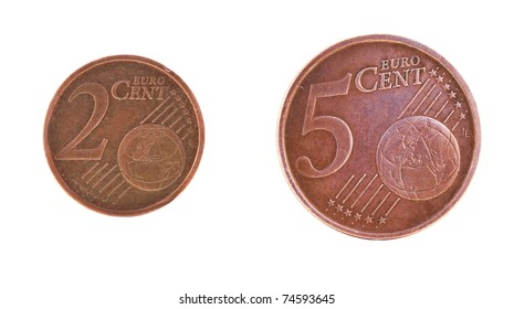 five and two cent euro on white background