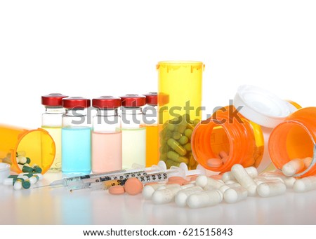 Five Vials Medication Exaggerated Psychedelic Bright Stock Photo
