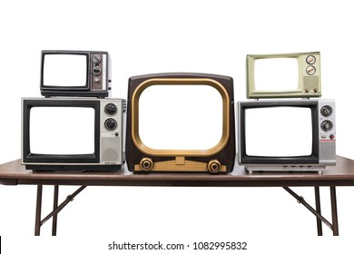 Five vintage televisions isolated on white with empty screens and clipping path.