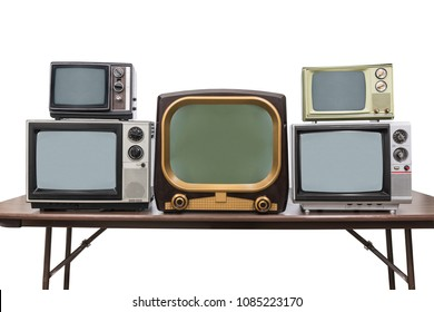 Five vintage televisions isolated on white with clipping path.