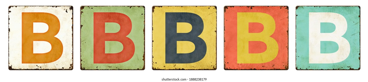 Five vintage tin signs on a white background - Letter B