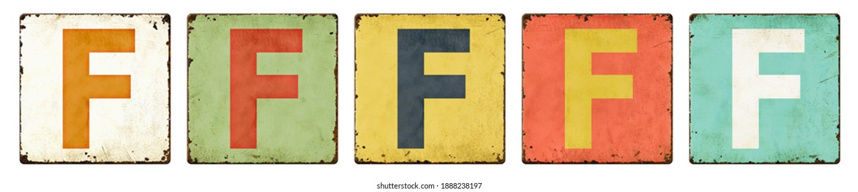 Five vintage tin signs on a white background - Letter F