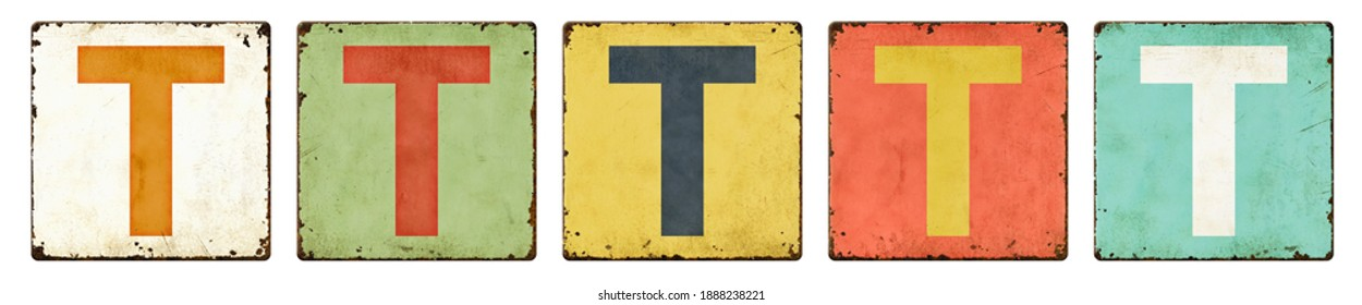 Five vintage tin signs on a white background - Letter T
