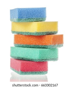 Five washing dishes sponges isolated on white