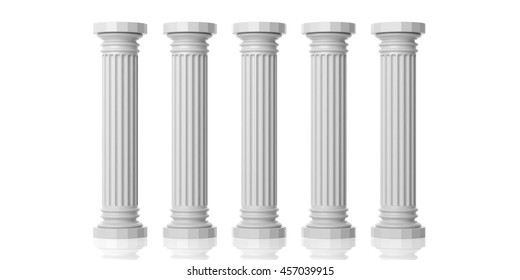 Five white marble pillars isolated on white background. 3d illustration