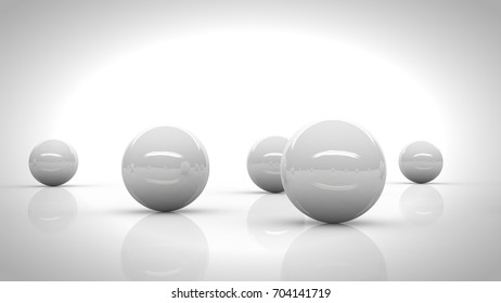 five white reflective spheres blending into a bright white environment (3d render)