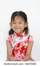 five year girl in Chinese traditional dress
