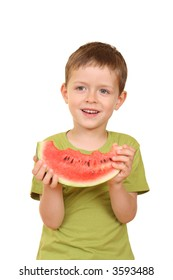 five years old boy with delicious watermelon isolated on white
