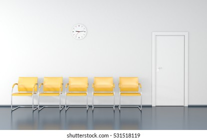 Five yellow stools and wall clock in the waiting room 3D render