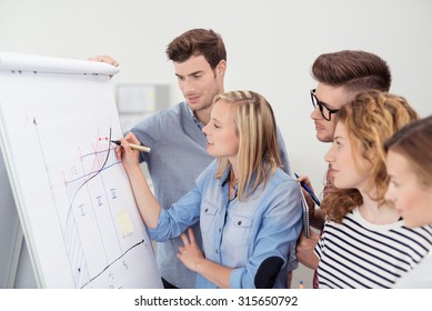 Five Young Businesspeople Making a Conceptual Business Graph on a Poster Paper Together Inside the Office.