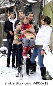 five young people having fun