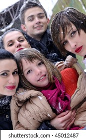 five young people in winter season