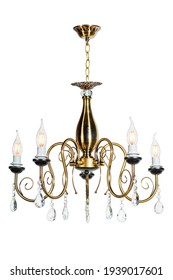 Five-lamp suspended ceiling chandelier. With candle shaped lamp bulbs. Isolated on white
