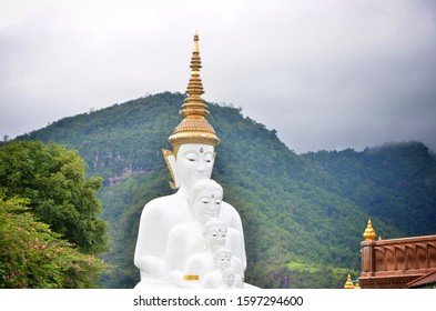 "The Five-Sitting-Buddhas statue at Wat Pha Sorn Kaew Thai name means ""Temple on a Glass Cliff"". Thailand's Most Unusual 'Daliesque' Temple in Phetchabun Province"