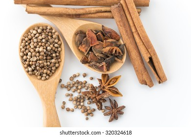 five-spice ingredient on white background