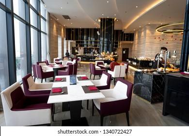 Five-star hotel Vinpearl, Ha Tinh province, Vietnam - December 17, 2018: Restaurant interior of five-star Vinpearl hotel in Ha Tinh city, Ha Tinh province, Vietnam