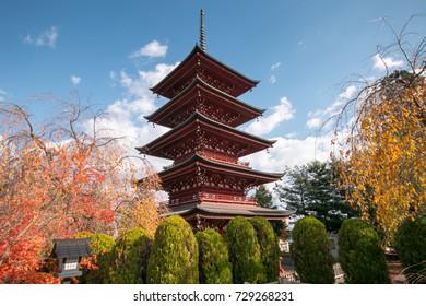 Five-story pagoda of Saishoin Temple in autumn.