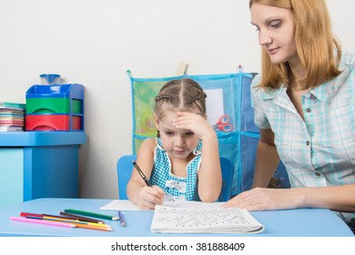 Five-year girl thought doing a spelling tutor