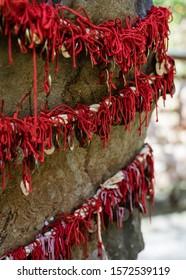 Five-yen coins hang off scarlet string draped over a boulder at Kuzuharaoka Shrine, Kamakura, Japan