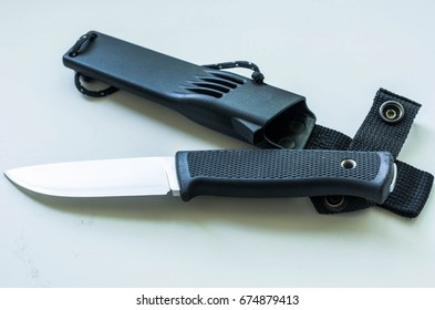 Fix knife for outdoor and trip. Carbon case.